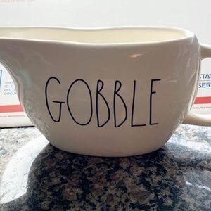 Rae Dunn GOBBLE Gravy Boat Thanksgiving New